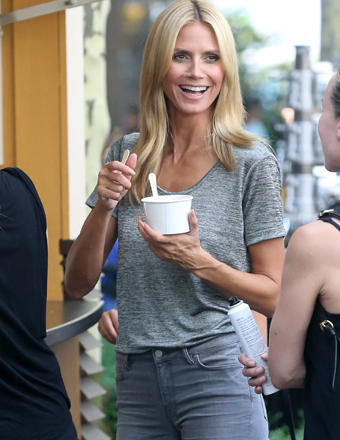 Heidi Klum took a break from filming a PSA for Breast Cancer Awareness in NYC.
