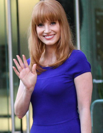 """Jessica Chastain stepped out of a hotel in NYC after a junket for her new film """"The Disappearance of Eleanor Rigby: Them."""""""
