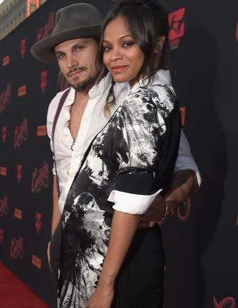 """Marco Perego and Zoe Saldana attended the premiere of """"Cantinflas"""" at the Chinese Theatre in Hollywood."""