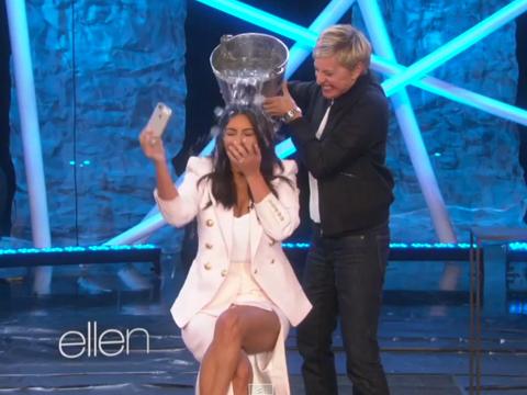 Video! Kim K Takes the ALS Ice Bucket Challenge on 'Ellen'