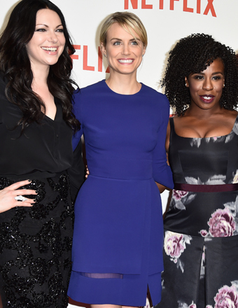 "Laura Prepon, Taylor Schilling, Uzo Aduba and Kate Mulgrew attended Netflix's ""Orange Is the New Black"" launch party in Paris."