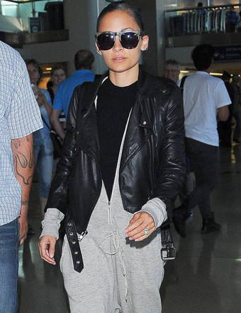 Reality star Nicole Richie was spotted exiting LAX.