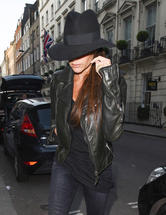 Victoria Beckham paid a visit to her soon-to-open boutique on Dover Street in London.