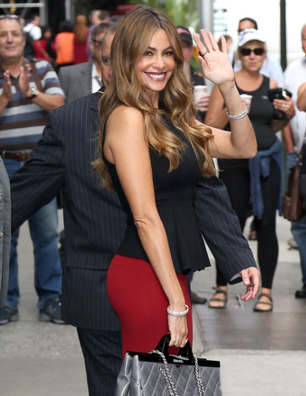 "Sofia Vergara looked hot as usual as she arrived to ""Good Morning America"" in NYC."