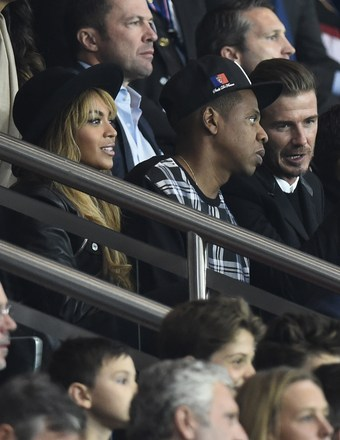 Beyoncé, Jay-Z and David Beckham attended the football match between Paris Saint-Germain and Barcelona in Paris.