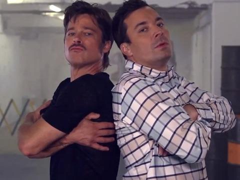 Breakdance Battle! Brad Pitt and Jimmy Fallon Hit the Cardboard