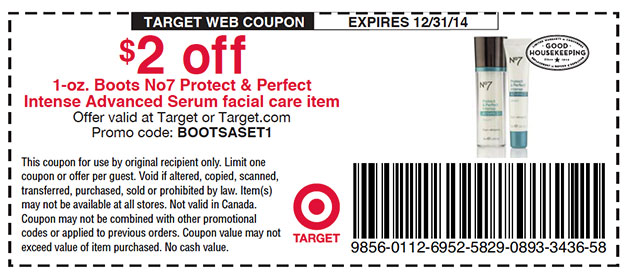 Just found this great coupon for Boots No 7 Skin Care products. Now this coupon is only good at Target stores, but it is a great deal! With this coupon, you can save $2 off one of their products.