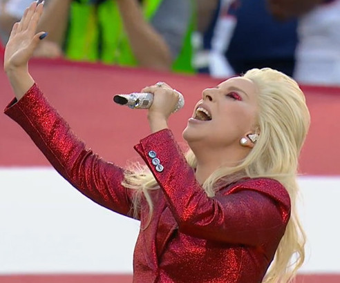 Glittery Gaga Rocks 'The Star-Spangled Banner' at Super Bowl 50
