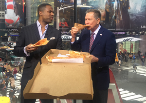 No Forks Here! John Kasich Enjoys a New York Slice with 'Extra'