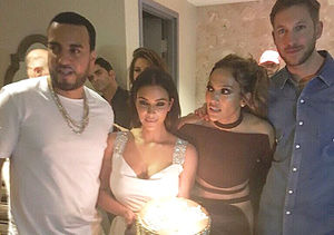 Kim Kardashian & Calvin Harris Light Up J.Lo's Pre-Birthday Party