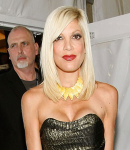 Tori Spelling was admitted to hospital for abdominal pain on Monday night