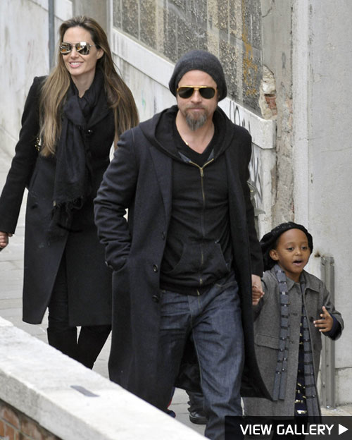 Brad Pitt and Angelina Jolie's family out and about in Italy